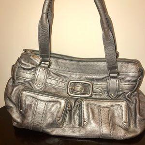 Cole Haan Silver Leather Satchel Bag & Wallet